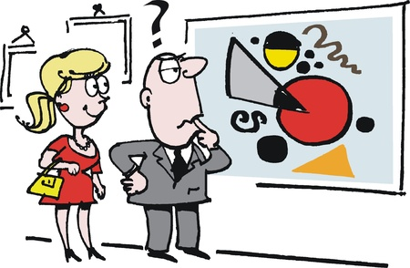 cartoon of man and woman in art gallery  Illustration