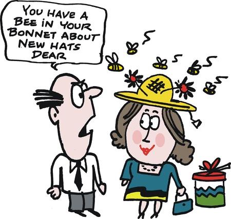 Cartoon von Frau Shopper mit neuen Hut