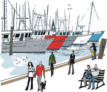 illustration of people at boat marina Illustration