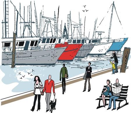 berth: illustration of people at boat marina Illustration