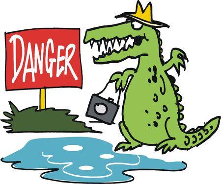 perilous:  cartoon of crocodile beside river