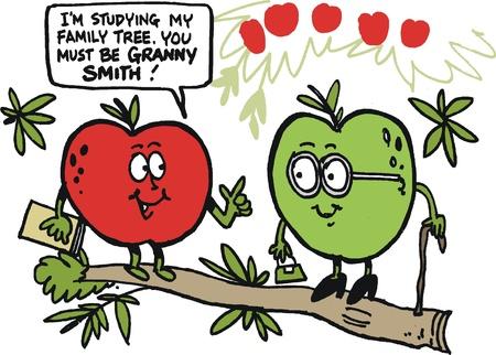 g�n�alogie: bande dessin�e de pommes dr�les sur branche d'arbre