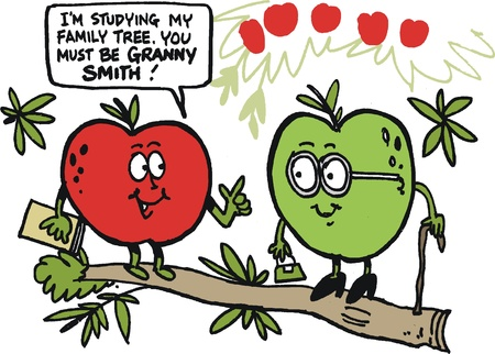 smith: cartoon of funny apples on tree branch