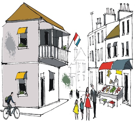 illustration of old buildings and street, France