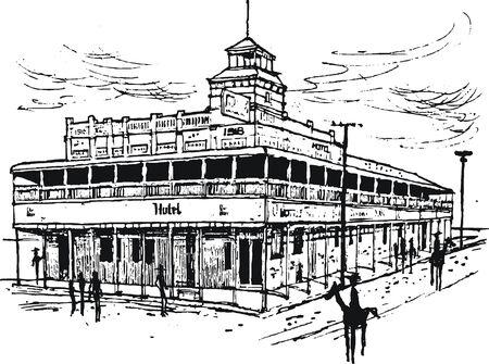 outback australia:  illustration of old outback hotel Australia