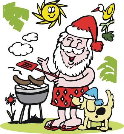 funny man: cartoon of Santa Claus having barbecue Illustration