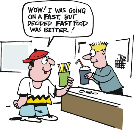 poor diet: Vector cartoon of youth ordering fast food at restaurant