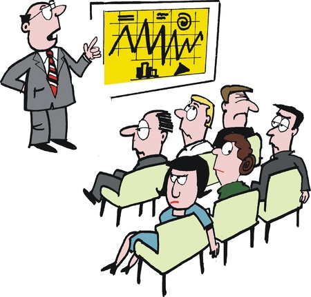 bored: Vector cartoon of executive giving business lecture