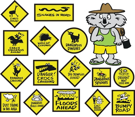 risk warning: Vector cartoon of koala bear with funny road signs Illustration