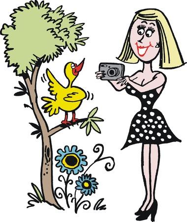 Vector cartoon of woman photographing bird in tree