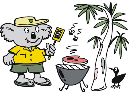 cartoon of koala bear cooking barbecue meal Vector