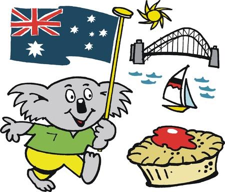 koala: de dibujos animados de koala de peluche con la bandera de Australia