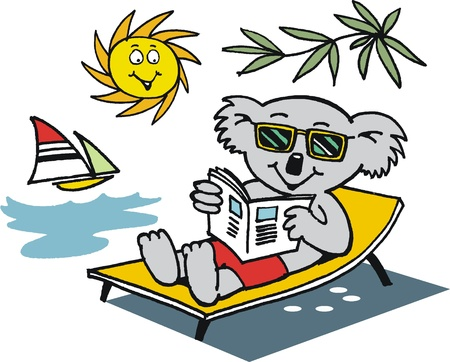 lounging: cartoon of koala bear relaxing in sun