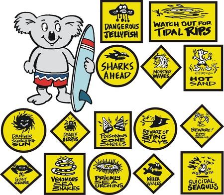 Cartoon of Australian koala bear with signs Stock Vector - 13719704