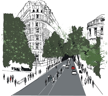Illustration of street scene, Whitehall, London Vector