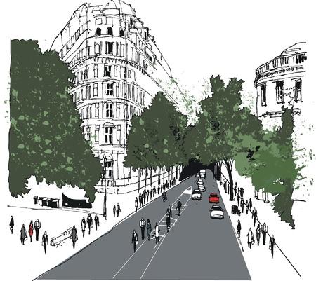avenue: Illustration of street scene, Whitehall, London