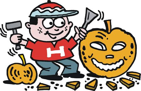 cartoon of boy carving Halloween pumpkin Stock Vector - 13762781