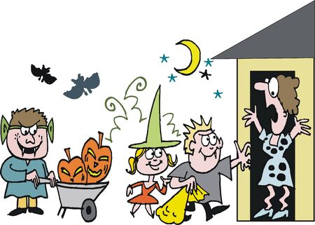 cartoon of children dressed in Halloween costume Vector