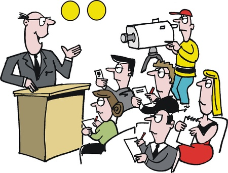 rostrum: cartoon of man giving press conference