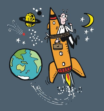 cartoon of executive strapped to rocket in outer space Vector