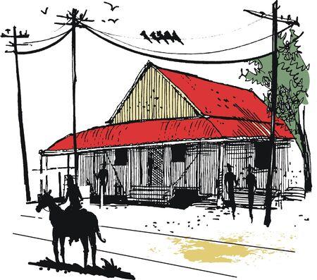 illustration of outback Australian town scene Vector