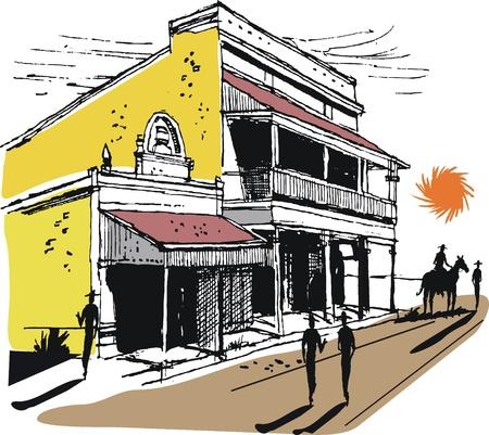 Vector illustration of Australian outback town and stockmen