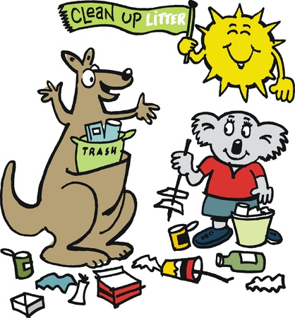 industrious: Vector cartoon of Australian animals cleaning up litter