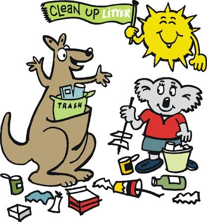 australian animal: Vector de dibujos animados de animales australianos limpieza de la basura
