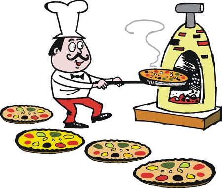 oven: Vector cartoon of chef making pizzas in oven