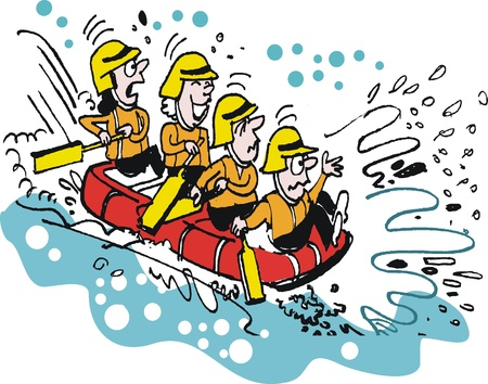 Vector cartoon of white water rafting people