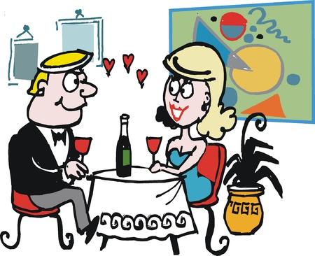 woman drinking wine: Vector cartoon of couple enjoying romantic dinner