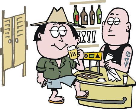outback australia: cartoon of Australian outback pub scene