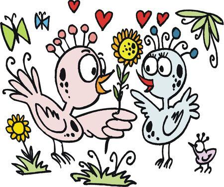 keen: cartoon of birds with flowers in garden