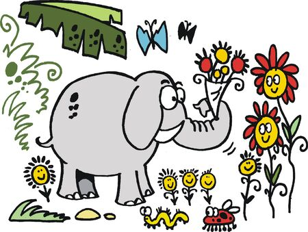 Vector cartoon of elephant in jungle with flowers Stock Vector - 14030036