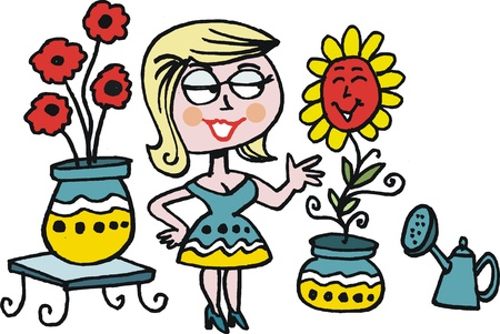 plant stand: cartoon of woman with flowers