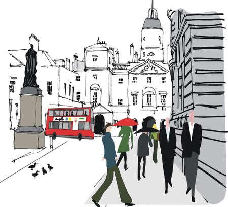 Vector illustration of pedestrians, Whitehall London England Stock Vector - 14030039