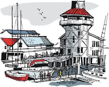 coastal: illustration of boat marina with people