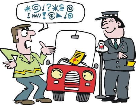 jokes: cartoon of man arguing over parking ticket Illustration