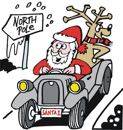 jokes: cartoon of Santa Claus driving antique auto