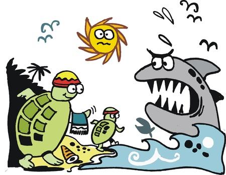 migrating: cartoon of turtles migrating on beach