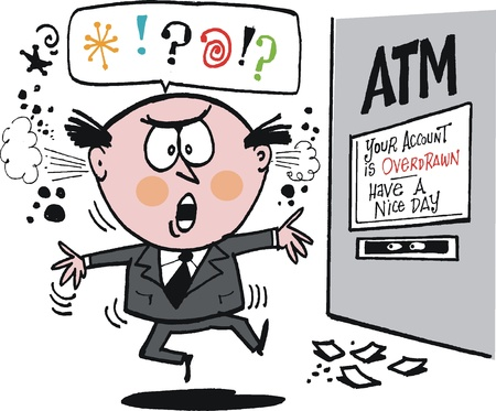 swindle: cartoon of annoyed man at bank ATM