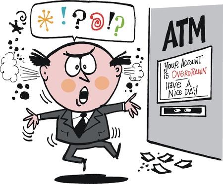 caricature de l'homme ennuyé à la banque ATM