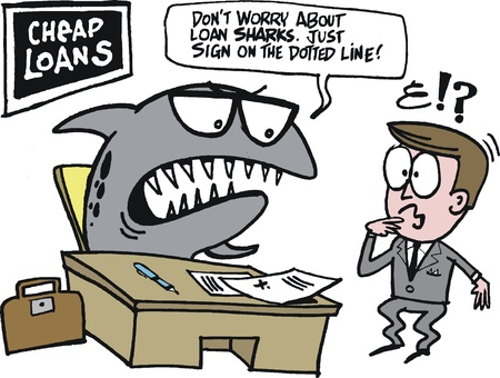 loans: cartoon of loan shark at desk in office