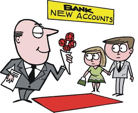 bank manager: caricatura que muestra gerente del banco con los clientes