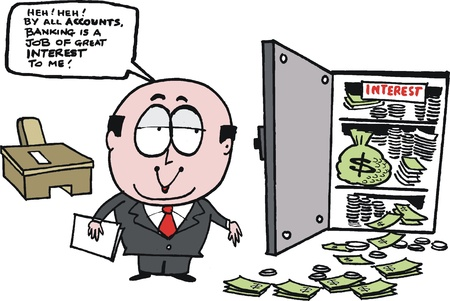 overflowing: cartoon showing bank manager with money