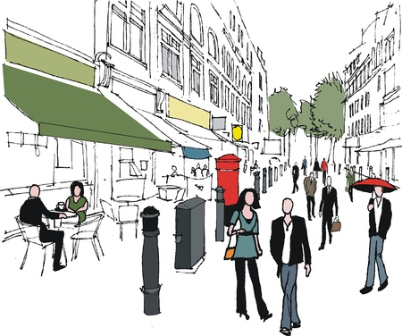 busy city: illustration of London pedestrians in city Illustration