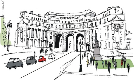 archway: illustration of Admiralty Arch, London England