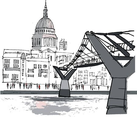 london skyline: illustration of pedestrian bridge, river Thames, London England Illustration