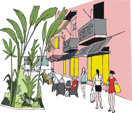guests: Ilustraci�n vectorial de complejo hotelero y los invitados, Hawai
