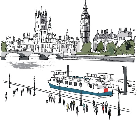 Vector illustratie van Westminster gebouwen en Thames, Londen